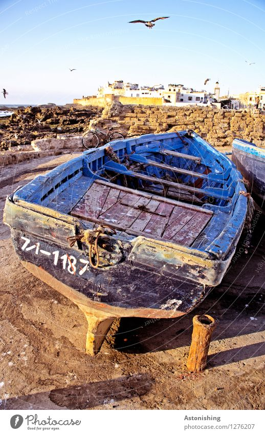 The old fishing boat Environment Nature Sky Horizon Summer Weather Beautiful weather Rock Coast Ocean Atlantic Ocean Essaouira Morocco Town Port City Old town