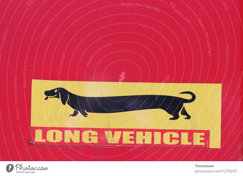 Rear heavy. Dachshund Label Plastic Sign Characters Yellow Red Black Tilt Colour photo Exterior shot Deserted Day