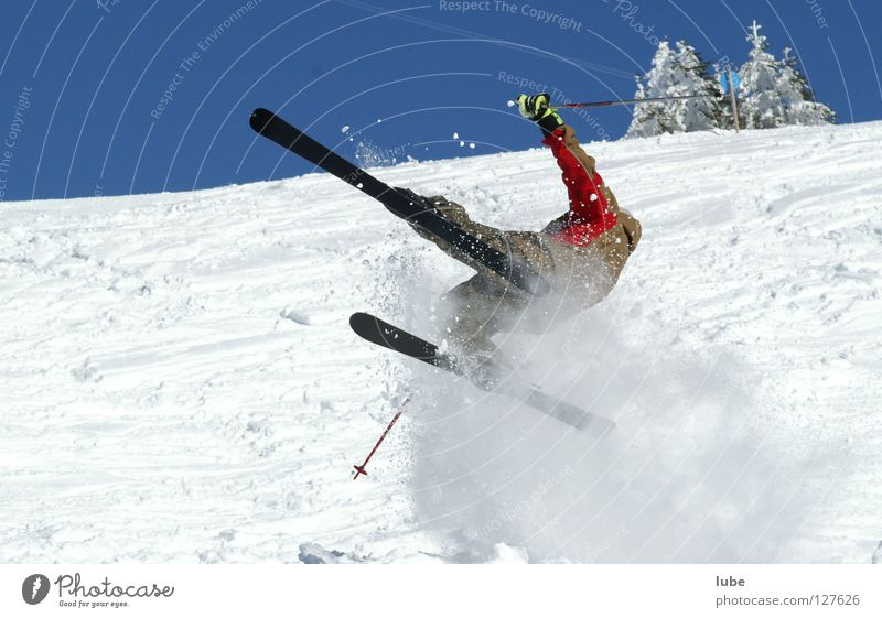 ski flying Winter Sudden fall Skier Sports Playing Winter sports ski camber Skiing Snow ski injury Gypsum