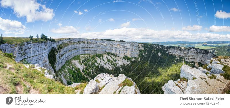 Swiss Grand Canyon Environment Nature Landscape Plant Earth Sky Clouds Blue Brown Multicoloured Gray Green Black White Far-off places Switzerland Creux du Van