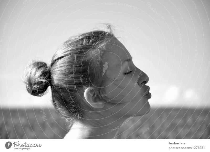 Blowing away the clouds Feminine Woman Adults Head Freckles Sky Clouds Summer Beautiful weather Field Curl Braids Blonde Funny Joy Hope Climate Creativity