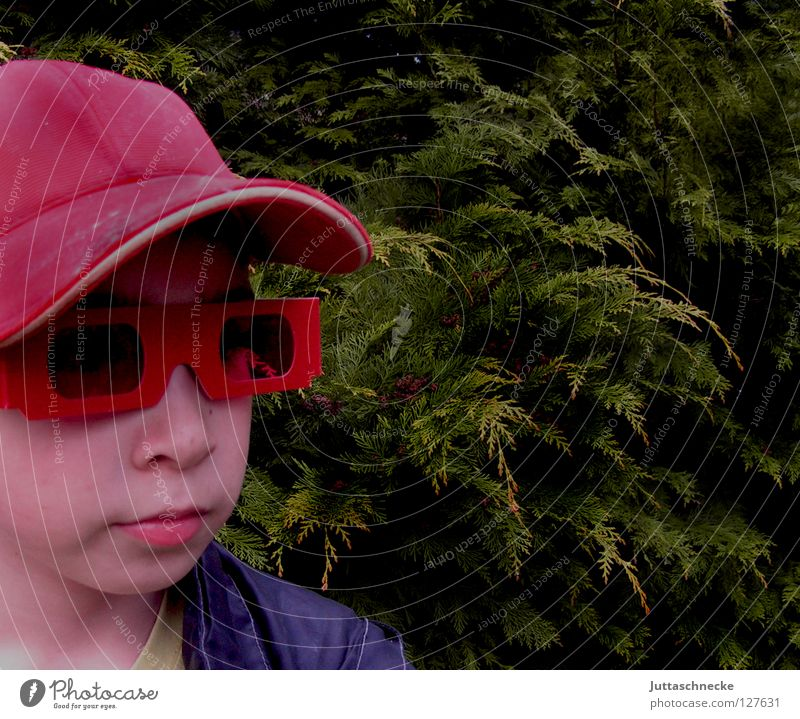 Hey, you... yes!!! You!!! Red Eyeglasses Sunglasses Portrait photograph April Whim Child Boy (child) Earnest Grief Baseball cap Cap Helium Success Might Shadow