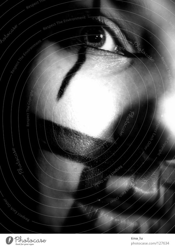 drawn I Stripe Make-up Lips Light Fear Earmarked Panic Black & white photo Cinema Clown Face Eyes Mouth Looking Shadow Stage play