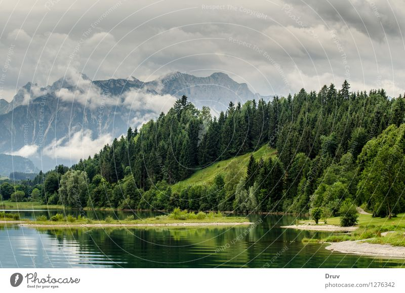 Forggensee, Allgäu Forests and Alpine Peaks Fishing (Angle) Vacation & Travel Summer Summer vacation Mountain Nature Landscape Plant Water Sky Clouds Weather