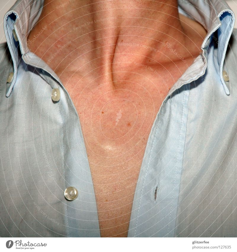 jack of hearts Man Shirt Collarbone Cloth Buttons Mole Above Dirty Upper body Summer Physics Neck Skin Open Free Chest Warmth Fiber Blue button-down you !!!