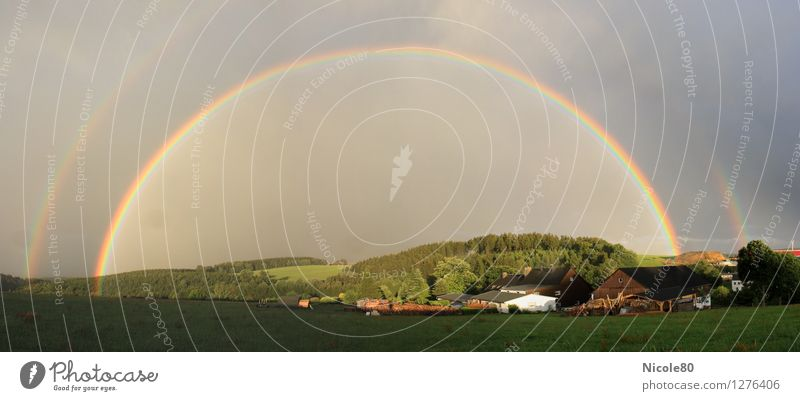 Rainbow over the village Summer Weather Happy Esthetic Miracle of Nature Colour photo Exterior shot Day Panorama (View)