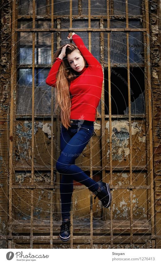 stylish girl / model on wall with metal frame Young woman Youth (Young adults) Life 1 Human being 18 - 30 years Adults Artist Architecture Dancer Belly dance