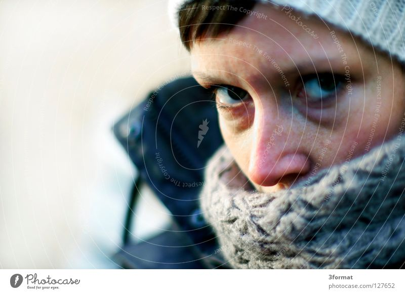 Human being Woman Winter Face Eyes Autumn Cold Emotions Think Weather Wet Cap Snapshot Ask Agree Skeptical