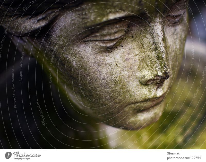 Woman Old Sky Green Face Calm Stone Sadness Art Grief Angel Peace Transience Statue Monument Craft (trade)