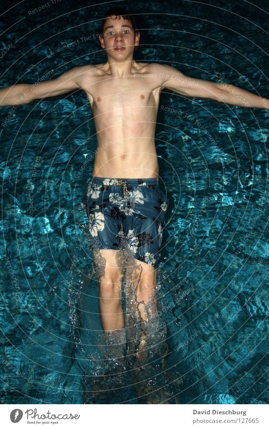 Falling Down Youth (Young adults) Young man 1 Person Individual 13 - 18 years Upper body Swimming trunks Masculine Muscular Thin Looking into the camera