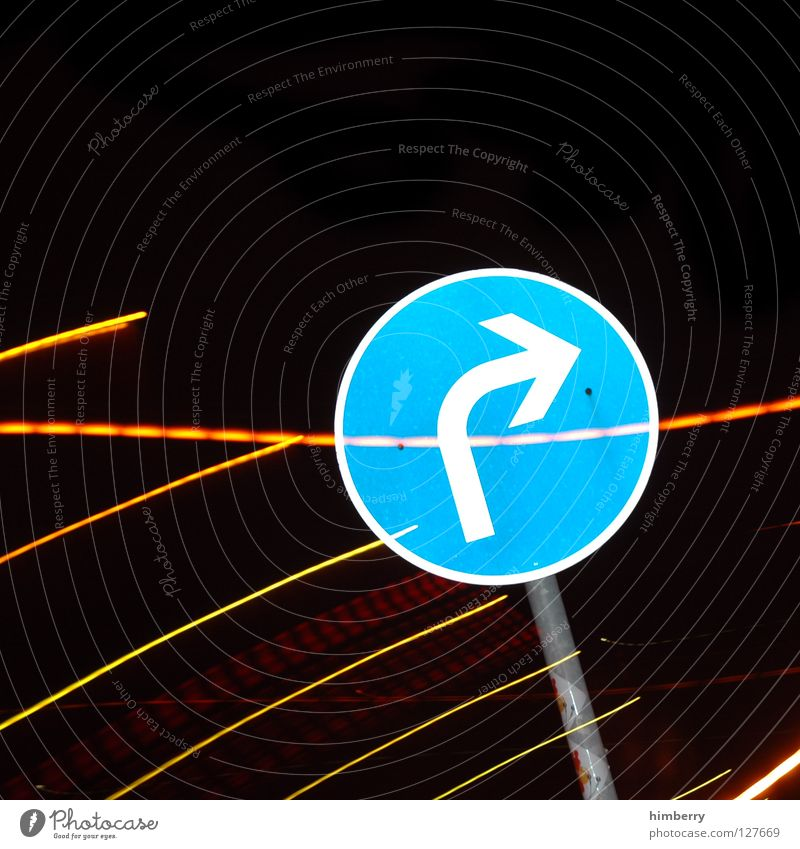 Blue Lamp Signs and labeling Transport Stripe Arrow City life Lightning Traffic infrastructure Parking Parking lot Road traffic Exposure Zoom effect Street sign
