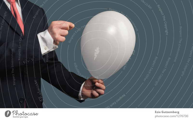 A businessman pricks a balloon with a needle Office Economy Business SME Career Success Meeting Masculine Hand 1 Human being 30 - 45 years Adults Suit Tie Toys