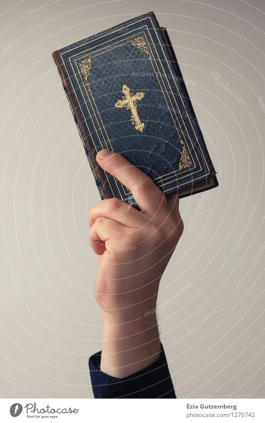 Human being Beautiful Hand Background picture Religion and faith Bright Masculine Esthetic Book Fingers Paper Retro Reading Might Hope To hold on