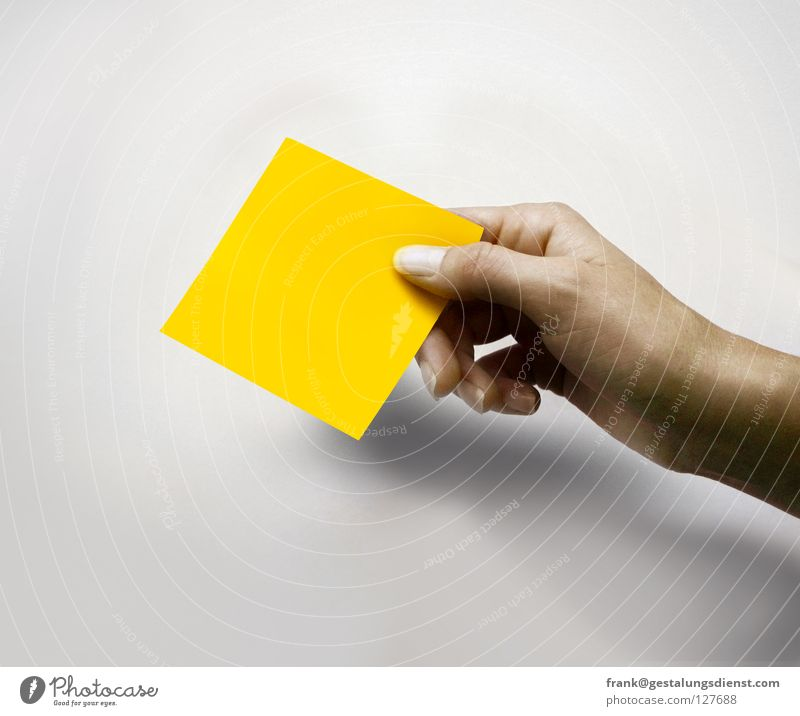 Hand Yellow Colour Fingers Square Piece of paper Give