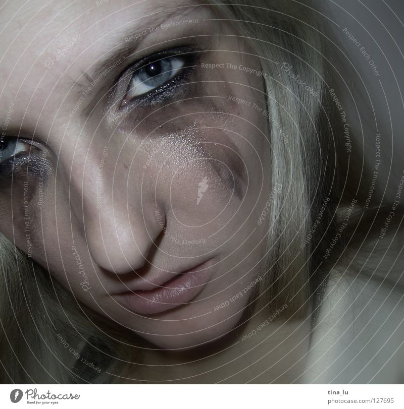Human being Woman Face Eyes Sadness Power Blonde Mouth Nose Force Grief Anger Make-up Cry Aggravation Daub