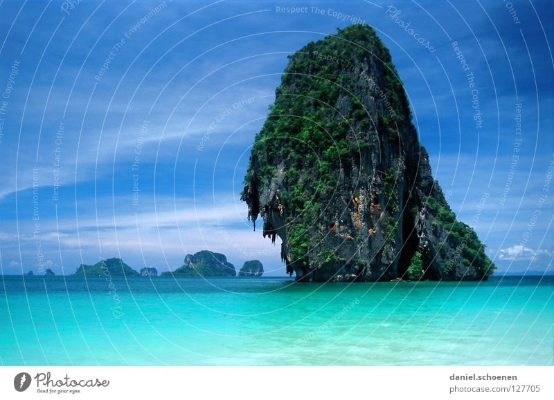 without words Beach Thailand Ocean Horizon Light Cyan Wanderlust Vacation & Travel Asia Waves Calm Summer Sky Weather Colour Blue Rock Water