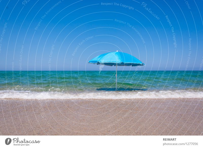 Sunshade on the beach Landscape Sand Water Coast Beach Deserted Swimming & Bathing Dream Fantastic Warmth Blue Anticipation Sardinia Exterior shot