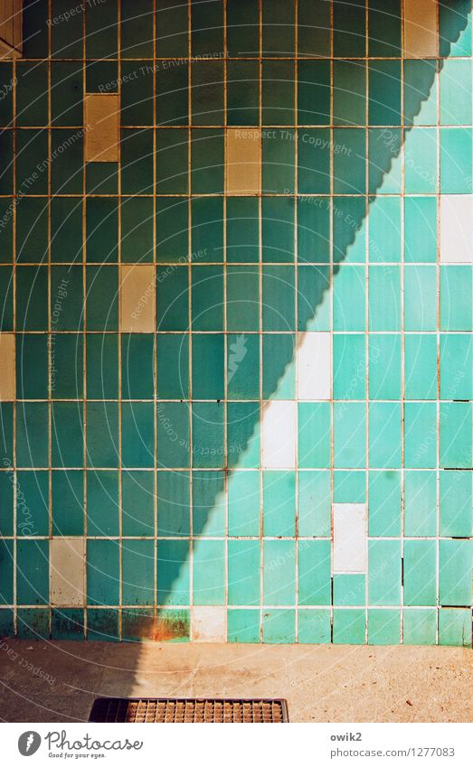 samples Wall (barrier) Wall (building) Facade Tile Sharp-edged Simple Turquoise Entrance Colour photo Multicoloured Exterior shot Deserted Light Shadow Contrast