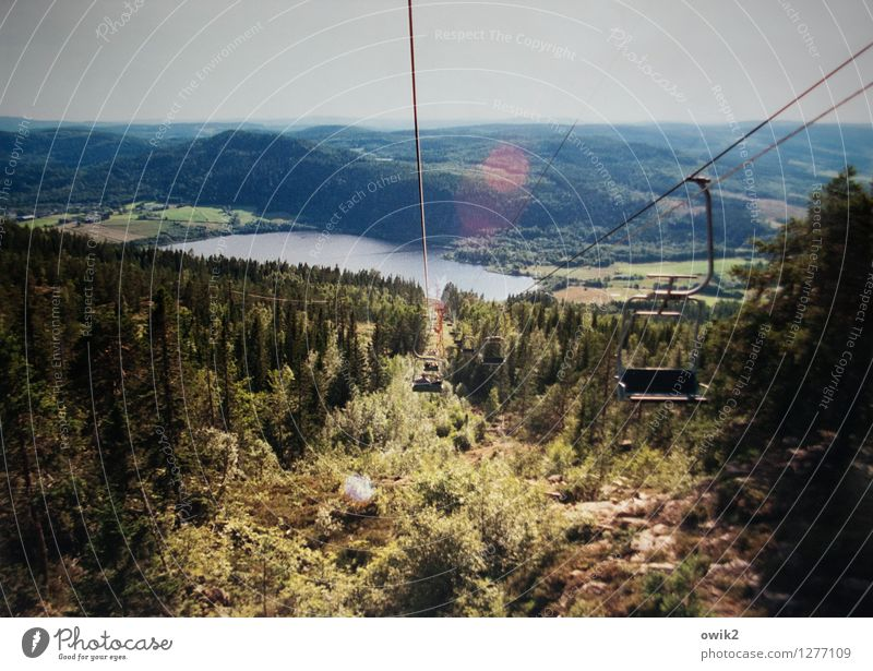 Floating Human being 2 Environment Nature Landscape Plant Sky Horizon Tree Forest Lake Movement Emotions Joy Ease Cable car chair lift Colour photo