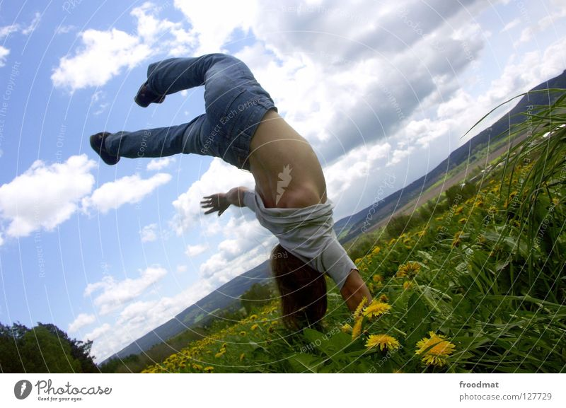 one-handed stand Flower Meadow Panorama (View) Jump Clouds Ilmenau Spring Dazzle Idyll Youth (Young adults) Heavenly Beautiful Alert High spirits Action Air
