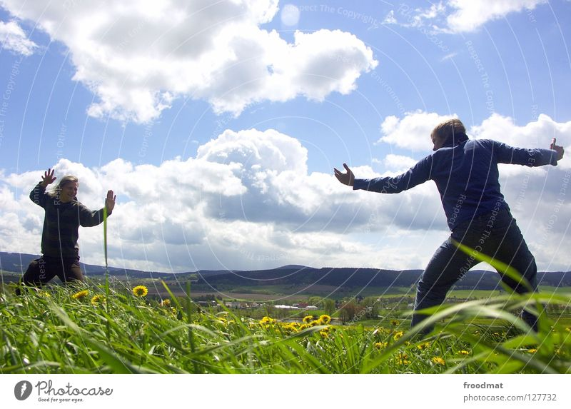 fight Flower Meadow Panorama (View) Clouds Ilmenau Spring Dazzle Idyll Youth (Young adults) Heavenly Beautiful Alert High spirits Action Air Frozen Grass Green