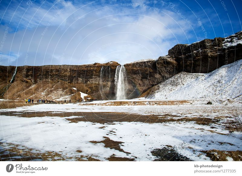 Waterfall Seljalandsfoss in Iceland Vacation & Travel Tourism Sightseeing Expedition Winter Nature Landscape Climate Climate change Volcano Seljaland's Fossus