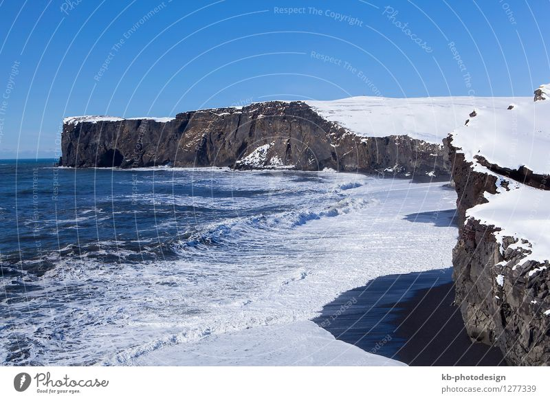 Peninsula Dyrhólaey in south Iceland Vacation & Travel Tourism Adventure Far-off places Winter Snow Winter vacation Mountain Nature Landscape Climate