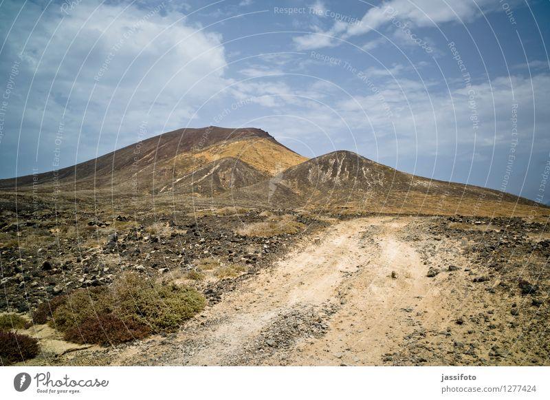 volcanic landscape Vacation & Travel Mountain Nature Landscape Hill Volcano Lanes & trails Hot Bright Dry La Graciosa Lanzarote Montania Amarilla Ski piste