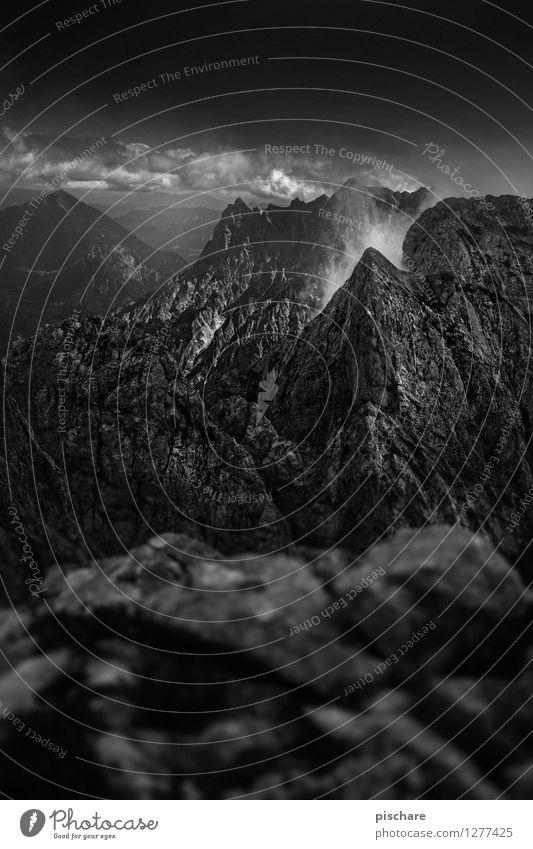 Nature Landscape Dark Mountain Threat Adventure Sharp-edged Austria Bad weather Storm clouds Gesäuse National Park