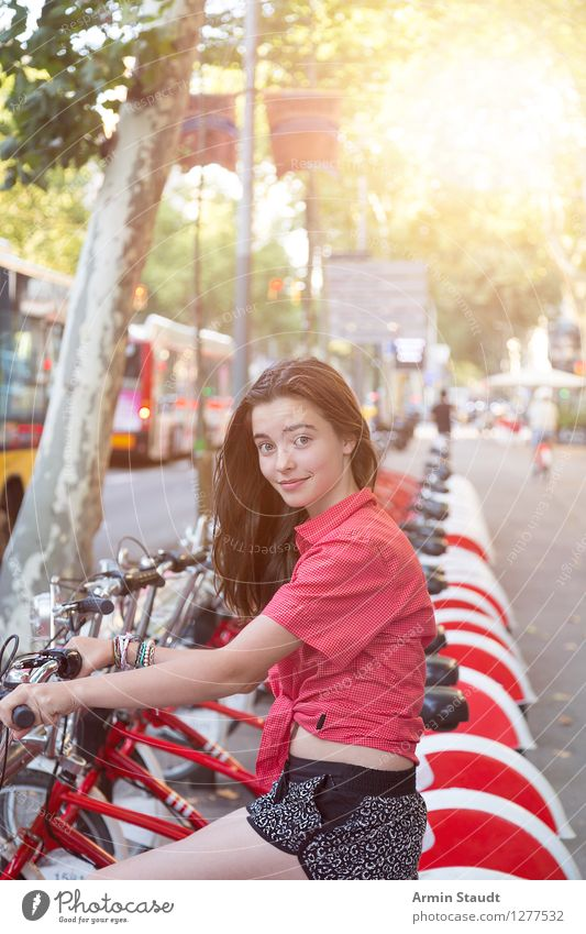 Human being Vacation & Travel Youth (Young adults) City Beautiful Young woman Joy Life Feminine Lifestyle Tourism Contentment Transport 13 - 18 years Bicycle Sit