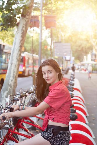 I'm borrowing Lifestyle Shopping Beautiful Contentment Vacation & Travel Tourism Summer vacation Bicycle Human being Feminine Young woman Youth (Young adults) 1