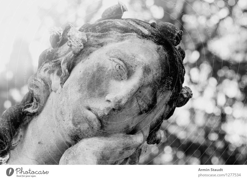 Pathetic sculpture Style Design Feminine Face Sculpture Nature Plant Beautiful weather Park Old Kitsch Retro Gray Sadness Concern Grief Fatigue Reluctance Pain