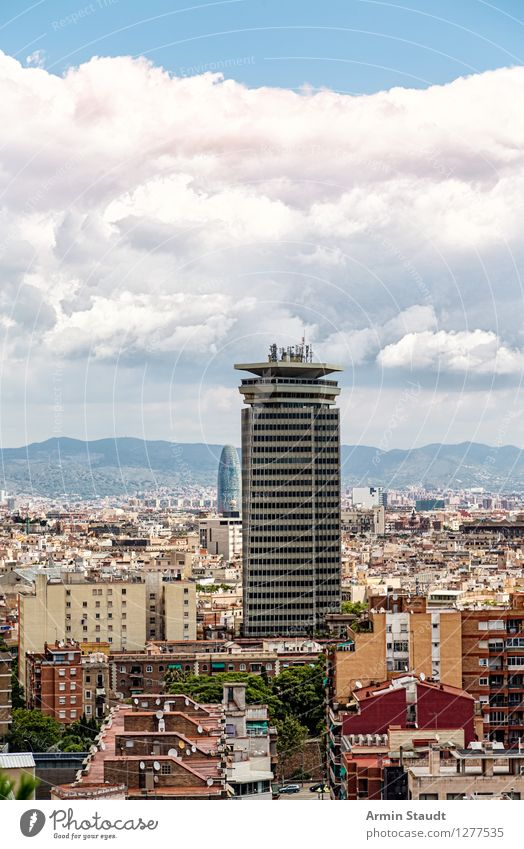 Barcelona high-rise Shopping Vacation & Travel Tourism Summer vacation Living or residing Sky Clouds Beautiful weather Town Skyline