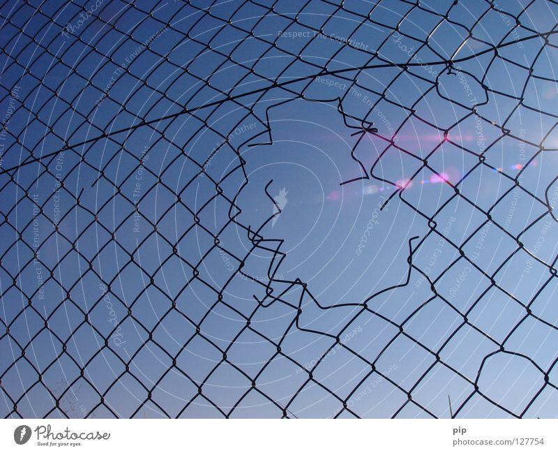 Sky Blue Freedom Lighting Fear Empty Open Broken Peace Net Climbing Border Fence Hollow Captured