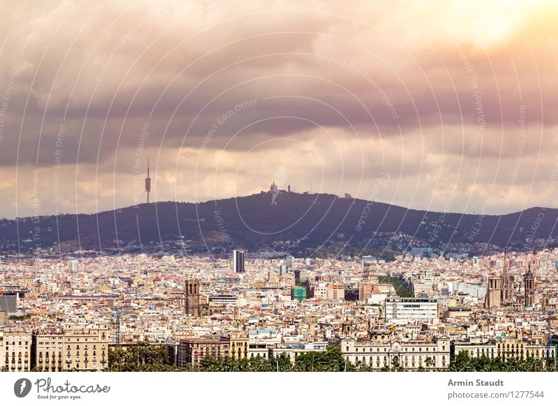 Barcelona Panorama Lifestyle Shopping Vacation & Travel Tourism Summer Summer vacation Night life Environment Storm clouds Sun Climate Mountain Town Skyline