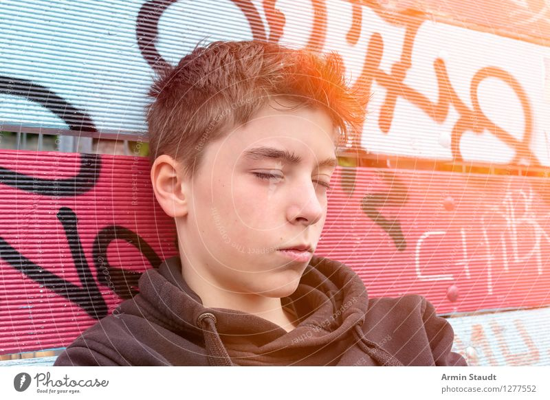 Human being Youth (Young adults) Beautiful Summer Relaxation Young man Calm Graffiti Emotions Style Lifestyle Head Design Masculine 13 - 18 years Sit