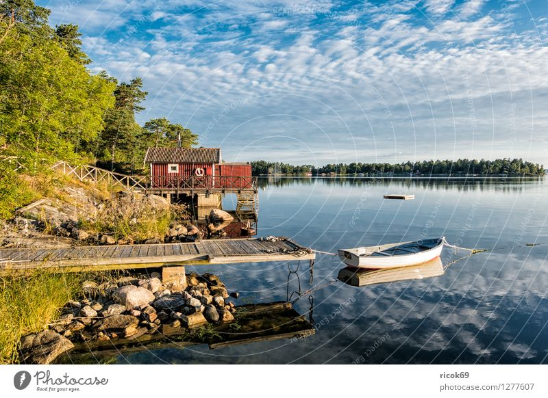Nature Vacation & Travel Blue Green Tree Relaxation Landscape Clouds Coast Watercraft Tourism Island Baltic Sea Footbridge Jetty Wooden house