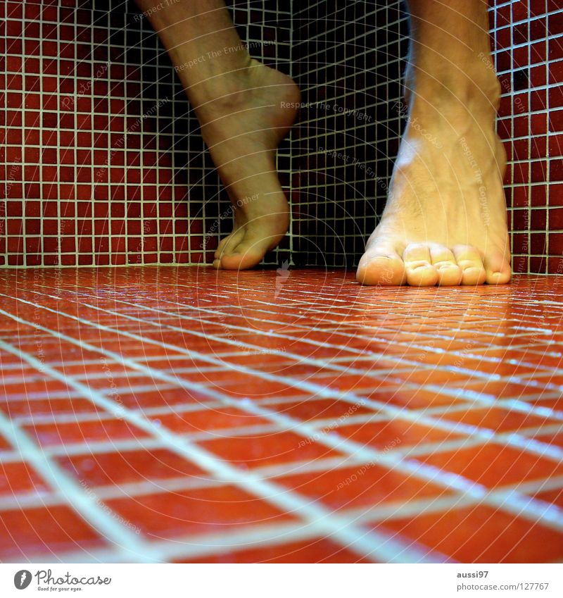 Red Feet Beginning Corner Bathroom Tile Square Track and Field Ankle joint