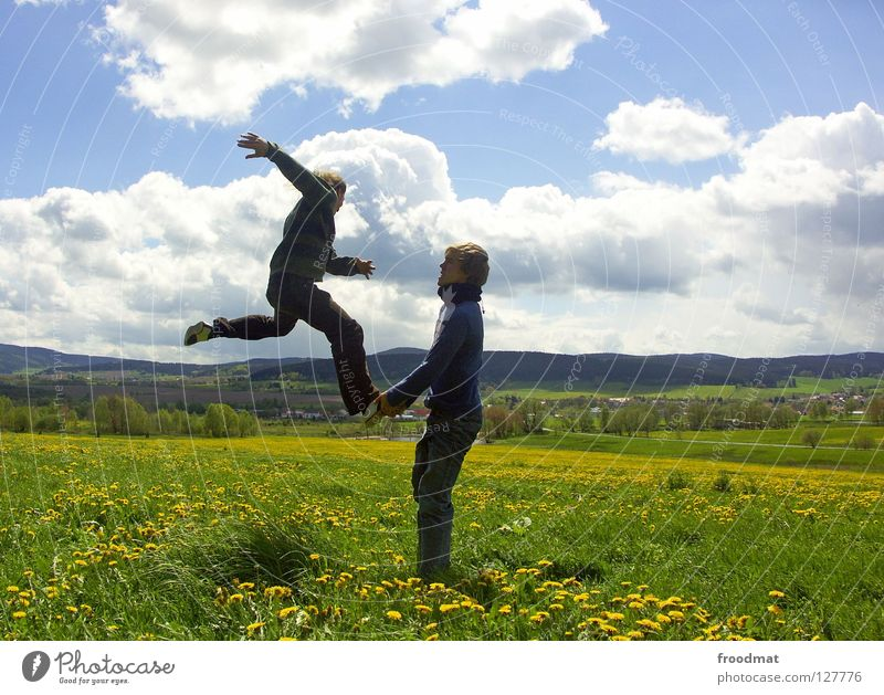 robber ladder Flower Meadow Panorama (View) Clouds Ilmenau Spring Dazzle Idyll Youth (Young adults) Heavenly Beautiful Alert High spirits Action Air Frozen