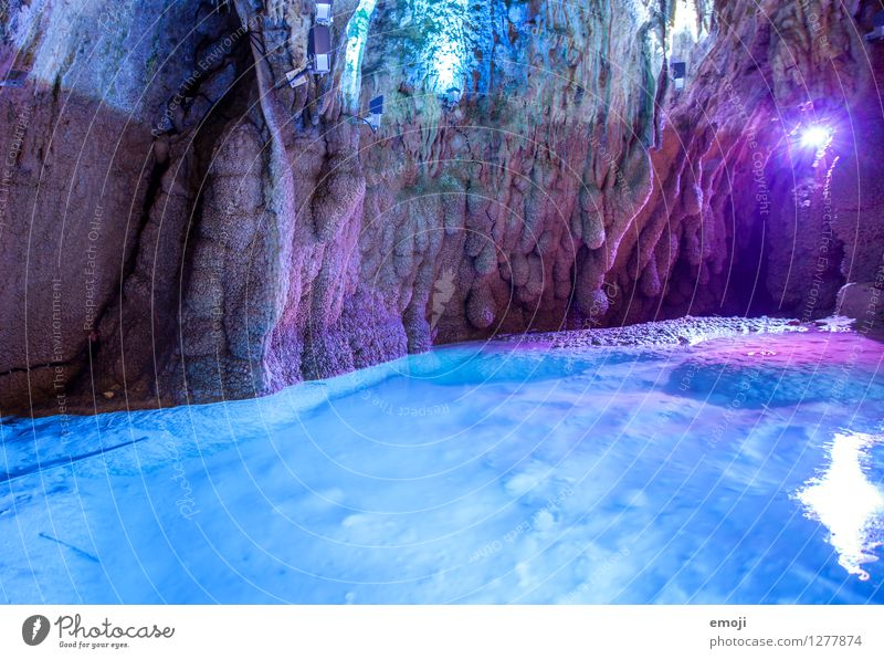 grotto Environment Nature Elements Pond Cave Stone Water Exceptional Famousness Blue Violet Natural phenomenon Attraction Colour photo Multicoloured