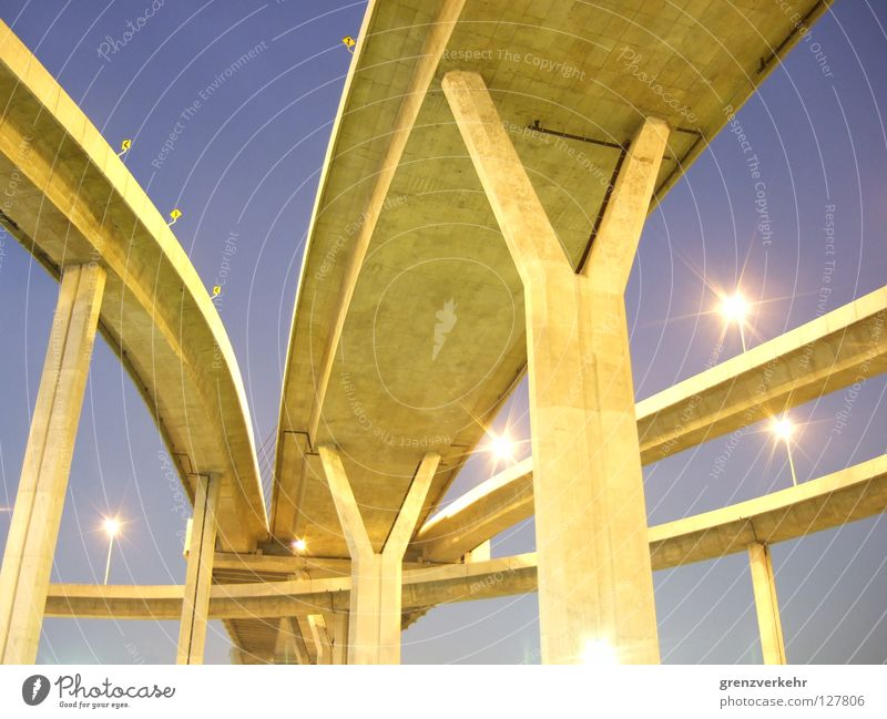 Cold Concrete Bridge Might Curve Column Construction Street lighting Thailand Gigantic Asia Bangkok Organic Bypass