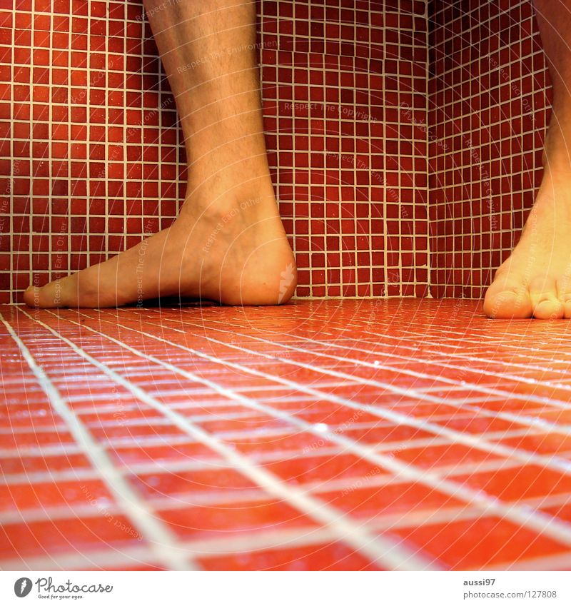 anticipation Bathroom Red Square Ankle joint Household Tile Corner cubism Feet OSG Beginning