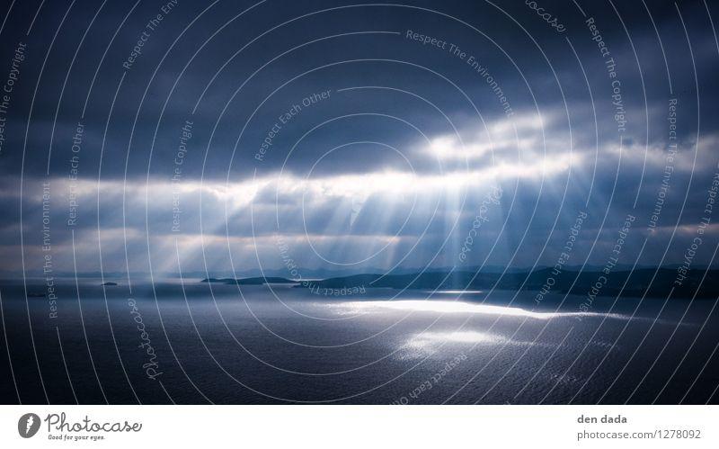 godrays Nature Elements Water Clouds Storm clouds Sunlight Climate change Bad weather Gale Rain Waves Coast Ocean Adriatic Sea Island Dugi Otok Esthetic Threat