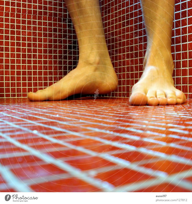 Red Feet Corner Bathroom End Tile Square Ankle joint
