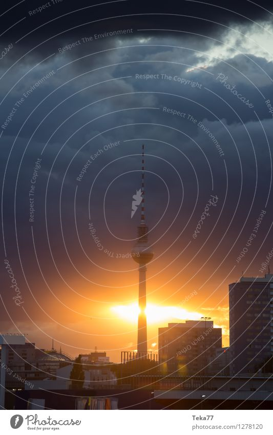 Berlin Evening I Vacation & Travel Summer Television Berlin TV Tower Capital city Downtown Skyline Places Air Traffic Control Tower Adventure Esthetic Germany