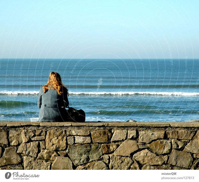 lonely world. Wall (barrier) Woman Far-off places Ocean Waves Blue Future Ambiguous Youth (Young adults) Fear of the future Community service Concentrate Sit
