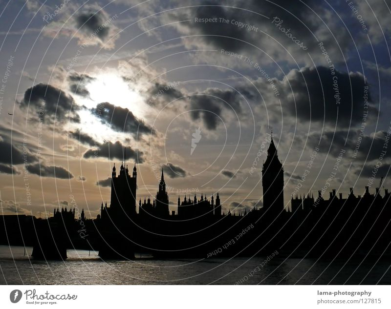 Remember, Remember... Big Ben Houses of Parliament London England Themse Great Britain Art Sightseeing Construction Clouds Vapor trail Sun Town Tower of London