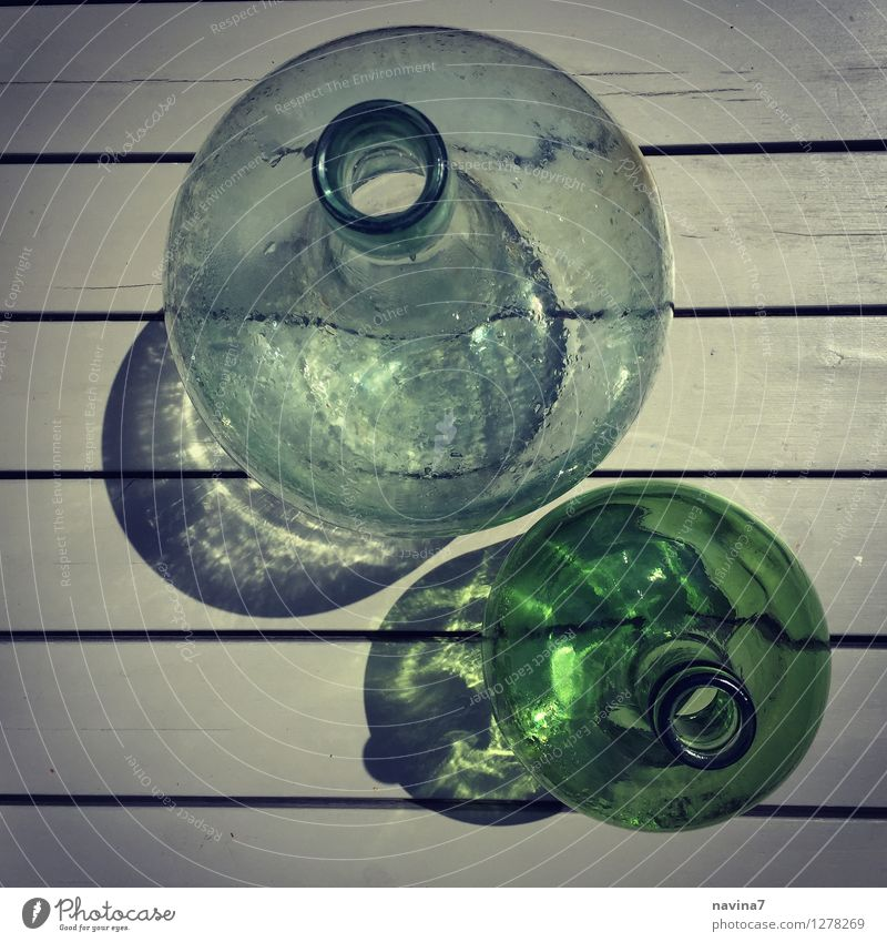 pair of bottles Glass Esthetic Bottle Ancient Stripe Considerable Transparent Containers and vessels Shadow 2 Colour photo Exterior shot Close-up Lomography