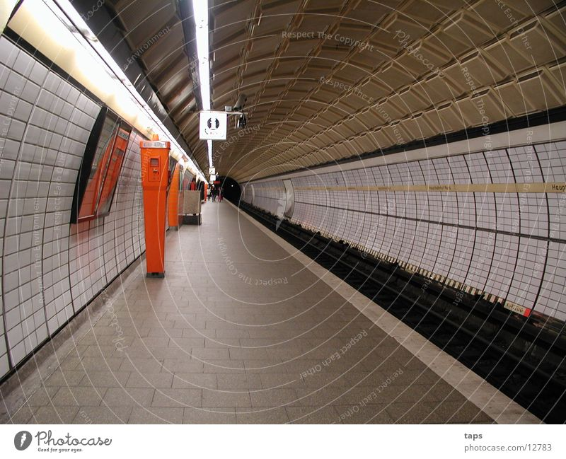 subway Underground Station Tunnel Emergency call Transport Hamburg Train station Tile Telephone Architecture
