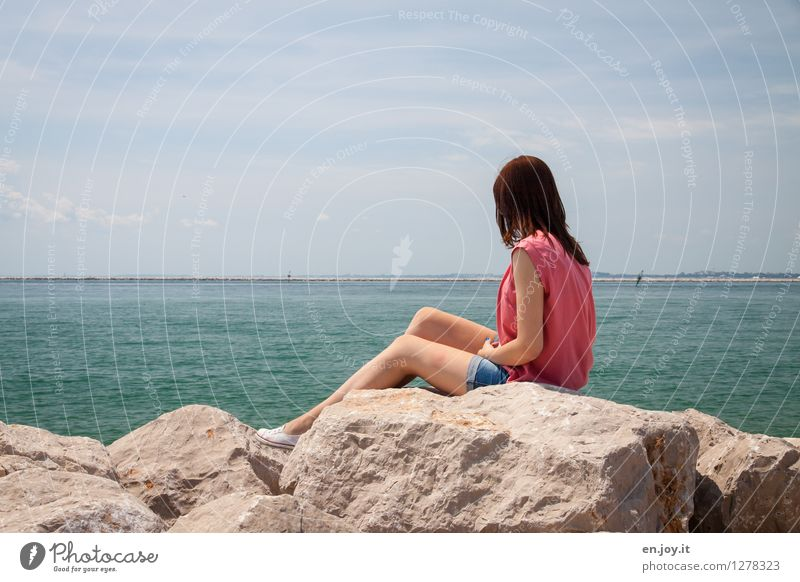 Human being Woman Sky Nature Vacation & Travel Youth (Young adults) Summer Young woman Relaxation Ocean Landscape Calm Far-off places Adults Sadness Feminine